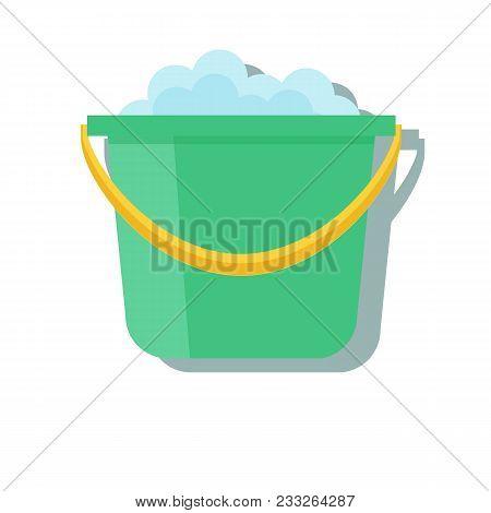 Bucket Icon Vector Cartoon App Web Logo Sign Ui Design A Green Plastic Bucket For Household Purposes