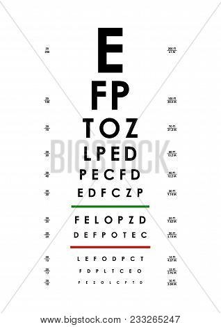 Poster Card Of Vision Testing For Ophthalmic Concept Examination Visual Health Care Look Text On A W