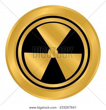 Radiation Round Golden Button On White Background. Vector Illustration.