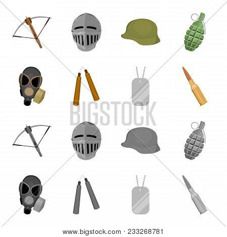 Gas Mask, Nunchak, Ammunition, Soldier Token. Weapons Set Collection Icons In Cartoon, Monochrome St