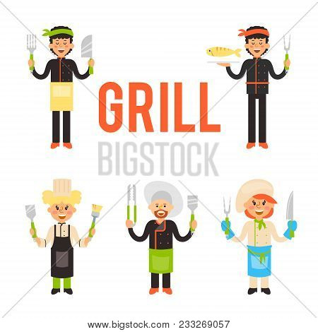 Cook The Grill With Knives And Forks In Hands. Set Of Vector Flat Design Illustrations Isolated On W