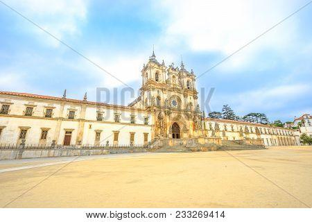 Perspective View Of Roman Gothic Monastery Of Alcobaca Or Mosteiro De Santa Maria De Alcobaca, Unesc