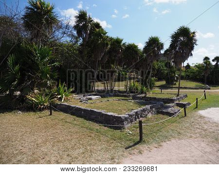 Ancient Ruins Of Stony Building At Tulum Mayan City In Mexico, Large Archaeological Sites With Exoti