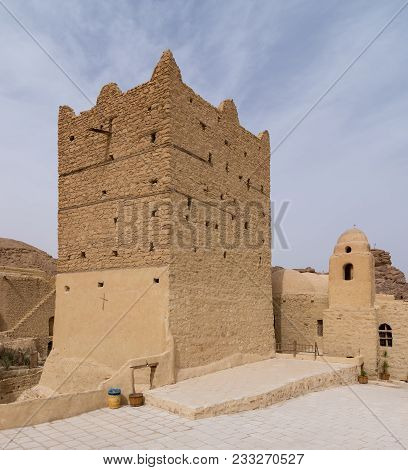 Cairo, Egypt - March 24 2018: Small Fort And Tower At The Monastery Of Saint Paul The Anchorite (aka
