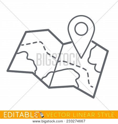 Route On Map Line Icon, Outline Vector Sign, Linear Pictogram Isolated On White. Symbol, Logo Illust