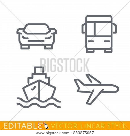 Transport Icons. Airplane, Public Bus, Ship Or Ferry And Car Signs. Delivery Goods And Passengers. S