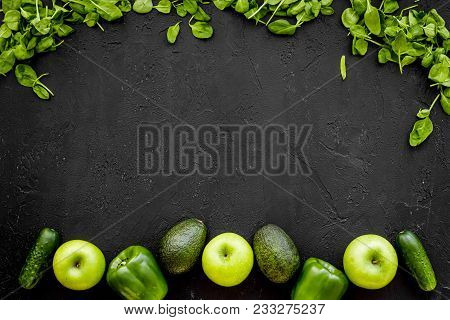 Greeny Cocktail Ingredients. Fitness Smoothie. Cucumber, Pepper, Apple, Celeriac On Black Background