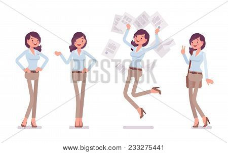 Attractive Happy Young Woman In Buttoned Up Shirt And Camel Skinny Chino Trousers In Positive Emotio