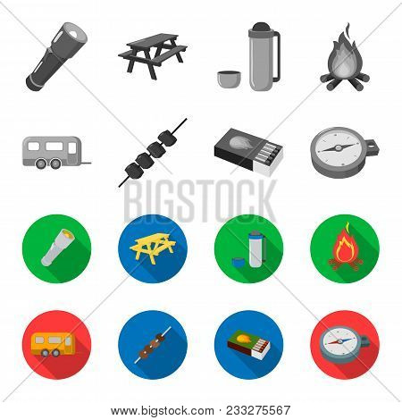 Trailer, Shish Kebab, Matches, Compass. Camping Set Collection Icons In Monochrome, Flat Style Vecto