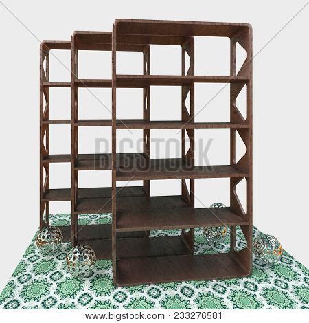 3d Rendering. Model Design Shelves For Books And Souvenirs. Triangular Cutouts In The Sidewalls.