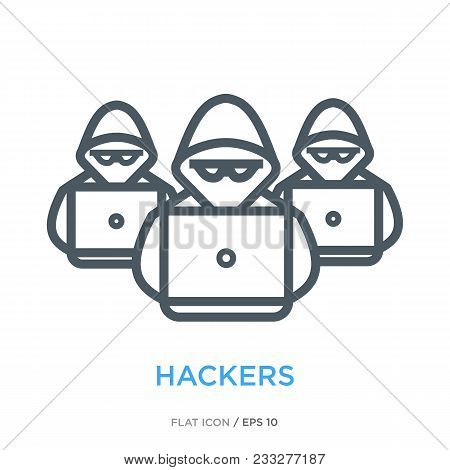 Intruders For A Laptop As Hacker Group Symbol. Simple Line Flat Icon.