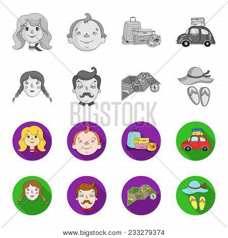 Travel, Vacation, Camping, Map .family Holiday Set Collection Icons In Monochrome, Flat Style Vector