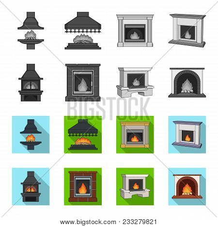 Fire, Warmth And Comfort. Fireplace Set Collection Icons In Monochrome, Flat Style Vector Symbol Sto