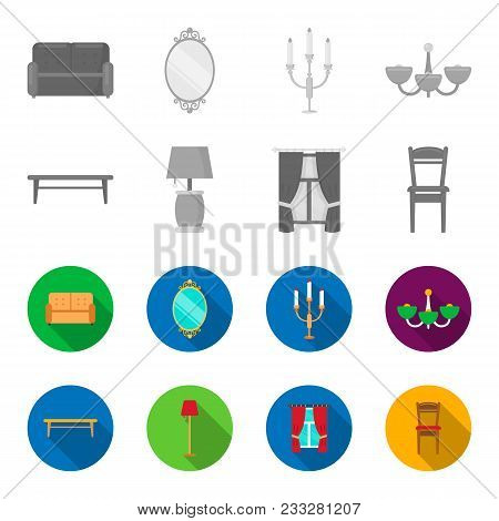 A Coffee Table, A Lamp, Curtains, A Chair.furniture Set Collection Icons In Monochrome, Flat Style V