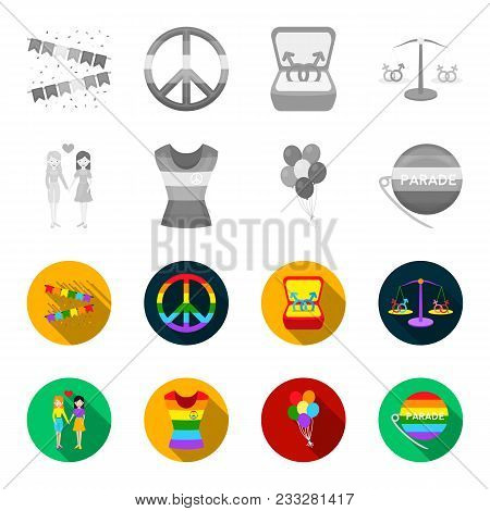 Lesbians, Dress, Balls, Gay Parade. Gay Set Collection Icons In Monochrome, Flat Style Vector Symbol