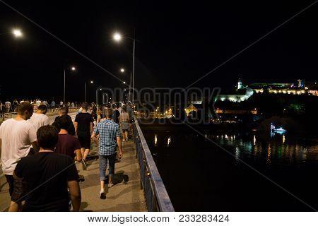 Novi Sad, Serbia - July 07 : Crowd On Way To The Petrovaradin Fortress Aria Of Exit Festival 2017, S