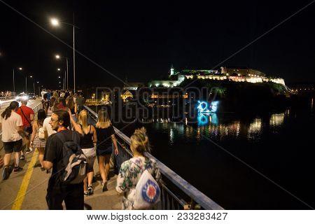 Novi Sad, Serbia - July 06 : Crowd On Way To The Petrovaradin Fortress Aria Of Exit Festival 2017, S