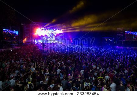 Novi Sad, Serbia - July 07 : Crowd In Front Of The Main Entrance On Exit Festival 2017, Summer Of Lo