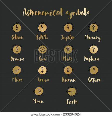 Astrology Doodle Symbols. Set Of Astrological Graphic Design Elements. Vector Icons Collection.