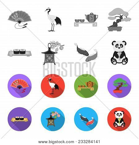 Sushi, Koi Fish, Japanese Lantern, Panda.japan Set Collection Icons In Monochrome, Flat Style Vector