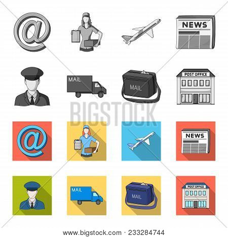 The postman in uniform, mail machine, bag for correspondence, postal office.Mail and postman set collection icons in monochrome, flat style vector symbol stock illustration . poster