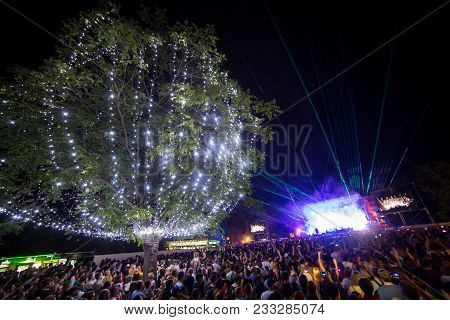 Novi Sad, Serbia - July 05 : Crowd In Front Of The Main Stage On Exit Festival 2017, Summer Of Love