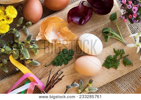 Preparation Of Easter Eggs For Dying With Onion Peels: Eggs, Onion Peels, Fresh Leaves, Coltsfoot, L