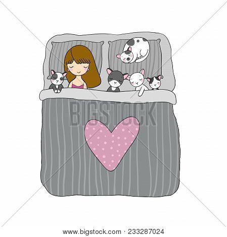Sleeping Girl And Cat In Bed. Good Night. Sweet Dreams. Vector Illustration. Bed Time. Isolated Obje