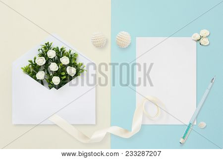 Styled Stock Photo. Feminine Wedding Desktop Mockup. White Roses, Satin Ribbon, Beads On Pastel Beig