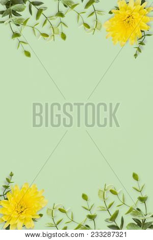 Wedding Invitation Or Card With Abstract Floral Background. Yellow Chrysanthemums And Green Twigs On