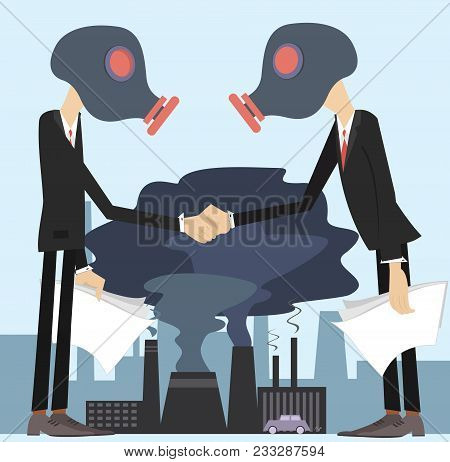 Two Men In The Gas Mask Conclude An Agreement And Shake Hands Concept Illustration. Two Men In The G