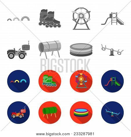 Machine For Radio Control, Tunnel, Trampoline, Swing. Playground Set Collection Icons In Monochrome,