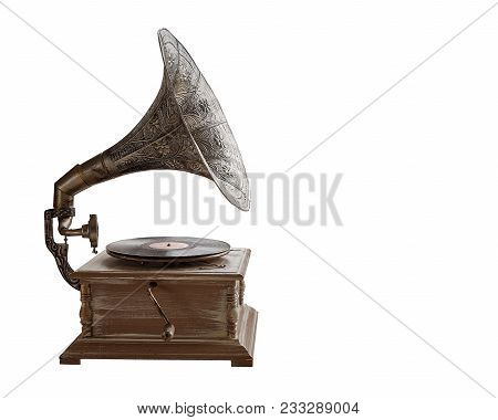Beautiful Silver Vintage Phonograph. Retro Gramophone Isolated On White Background.