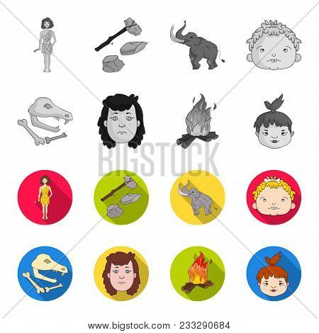 Woman, Hair, Face, Bonfire .stone Age Set Collection Icons In Monochrome, Flat Style Vector Symbol S