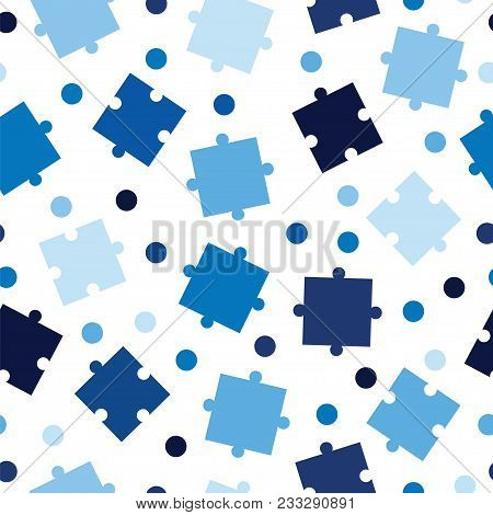 Seamless Tileable Pattern With Puzzle Pieces In Blue Shades - Jigsaw Puzzle Pieces