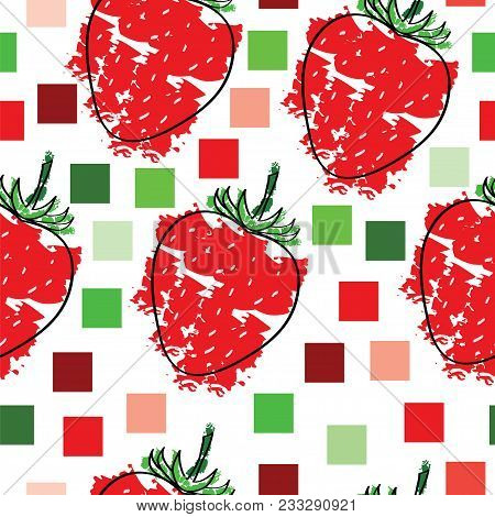 Seamless Tileable Pattern With Strawberries Vector And Squares On White Background