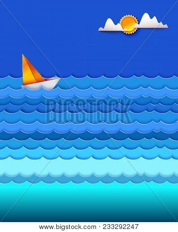 Boat In The Sea. Sailfish On Blue Waves. Sun And Cloud In Sky. Ocean And Sea Fishing. Vector Illustr
