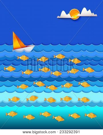 Many Fishes In The Sea. Sailfish On Blue Waves. Sun And Cloud In Sky. Ocean And Sea Fishing. Eco, Na