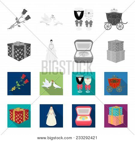 Wedding And Attributes Monochrome, Flat Icons In Set Collection For Design.newlyweds And Accessories