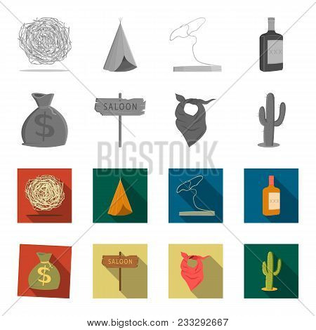 Bag Of Money, Saloon, Cowboy Kerchief, Cactus. Wild West Set Collection Icons In Monochrome, Flat St