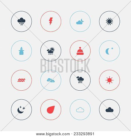 Set Of 16 Editable Climate Icons. Includes Symbols Such As Sun, Electrical Discharge, Climate And Mo