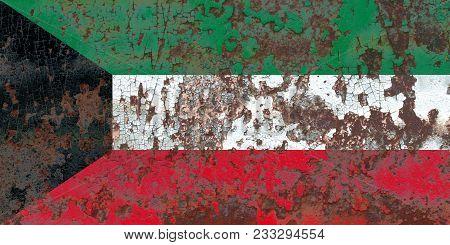 Old Kuwait Grunge Background Flag, Old Flag
