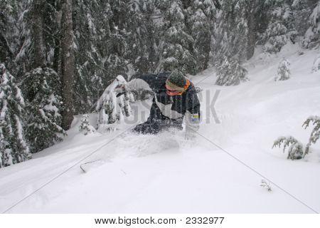 Snowboarder In Fresh Snow