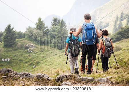 Summer Walk In Mountains, Active Seniors On Trip, Group Of Tourists Walking, Tourists On Trip To Mou