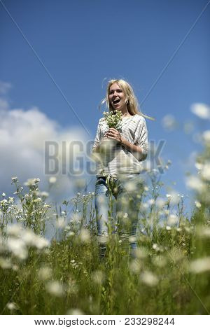 Womens Day, Mothers Day, Beauty. Womens And Mothers Day, Happy Woman In Flower Field