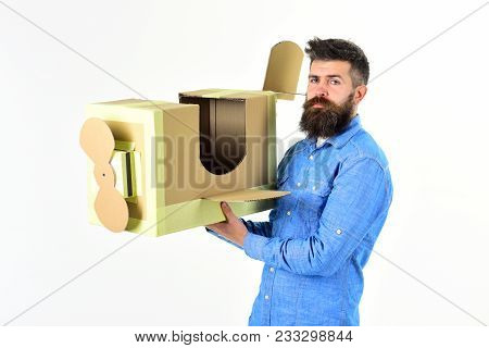 Air Mail Delivery, Aircraft Construction. Bearded Man Father Hold Cardboard Plane Isolated On White.