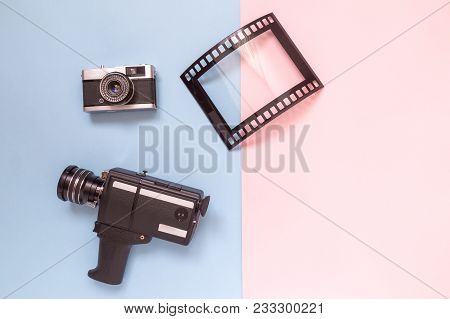 Retro Vintage Analog Film Camcorder, Photo Camera And Picture Frame On Pastel Background Minimal Tec