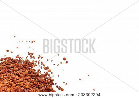 Instant Coffee Is Scattered On White.  Hill Threw The Coffee Granular.