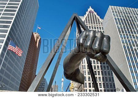 DETROIT- JANUARY 26,2018, The Fist Sculpture, Joe Louis Professional Boxers Arm Suspended in Hart Pl