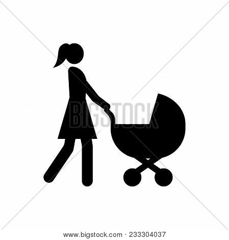 Mother And Baby Stroller Icon, Baby Pram Icon, Baby Wheels Sign